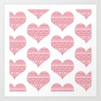 Patterned Hearts Pattern Art Print