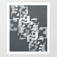 Numbers - V1 Blue Gray Art Print