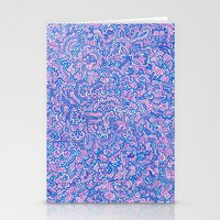 Blue Violet Doodle Stationery Cards