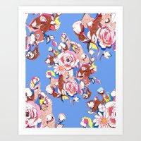 Blue Textile Art Print