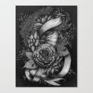 Peony And Succulents Canvas Print