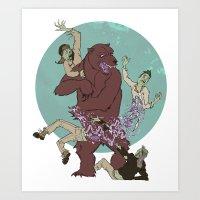 Bear VS Zombies Art Print