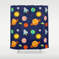 Planet Party Shower Curtain