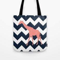 Giraffe on Chevron Background Tote Bag