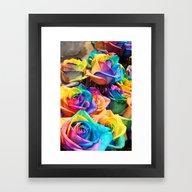 Framed Art Print featuring RAINBOW ROSES by Ylenia Pizzetti