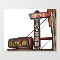 Canvas Print featuring Airport tavern sign by Vorona Photography