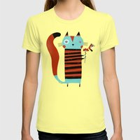 STRIPED SHIRT Womens Fitted Tee Lemon SMALL