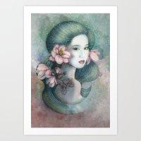 Magnolias In This Dusk Art Print