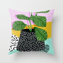 Throw Pillow - Decent - memphis retro neon throwback illustration pop art houseplant socal urban kids trendy art - Wacka