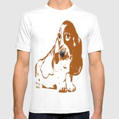 Basset Hound Dog White SMALL Mens Fitted Tee