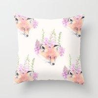 Fox & Foxgloves // Cream Throw Pillow