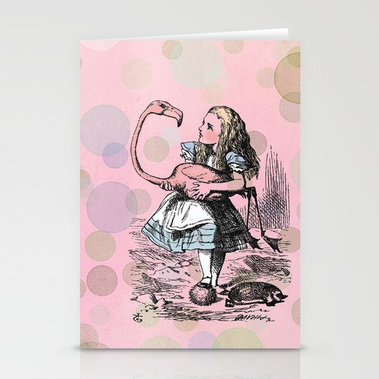 Alice plays Croquet Stationery Card