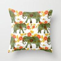 Wading Elephants Throw Pillow