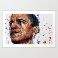 obama Art Prints featuring OBAMA by benjamin james