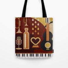 Retro Music Instruments Tote Bag