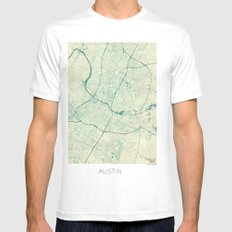 Austin Map Blue Vintage Mens Fitted Tee SMALL White