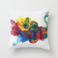colorful peacocks Throw Pillow