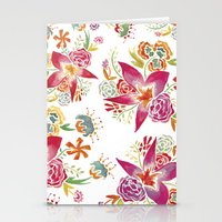 Tropical Flowers Waterco… Stationery Cards