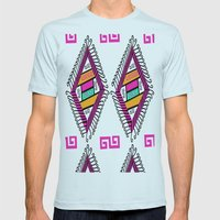 Aztec Pattern Mens Fitted Tee Light Blue SMALL