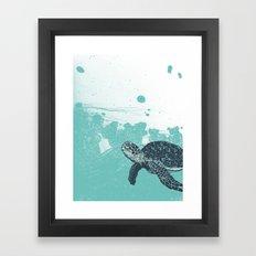Sea Foam Sea Turtle Framed Art Print