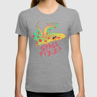 Space Pizza Womens Fitted Tee Tri-Grey SMALL