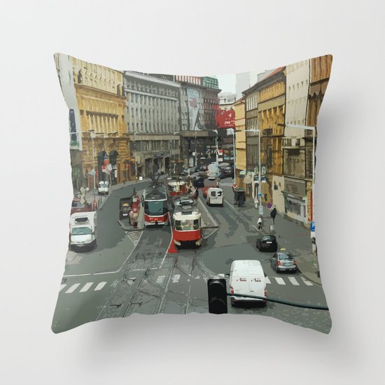 Retro PRAHA Throw Pillow