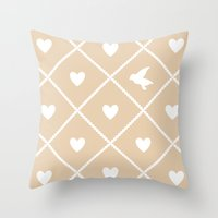 Always Near (from the Valentine Set) (colors: warm vanilla) Throw Pillow