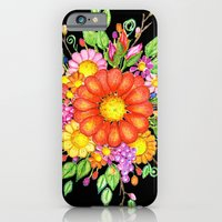 Big Red Daisy Bouquet on Black iPhone 6 Slim Case
