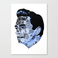 Johnny Cash- Blue Canvas Print