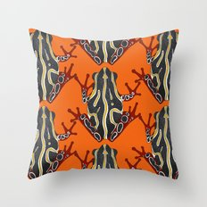 congo tree frog orange Throw Pillow