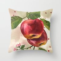 Apple painting, fruit paintings, watercolor apples, watercolour fruit print, garden lover gift,  Throw Pillow