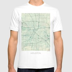 Houston Map Blue Vintage Mens Fitted Tee SMALL White