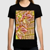 Vibrant Abstract Amaryll… Womens Fitted Tee Black SMALL