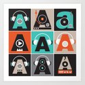 Audio vintage music typography illustration Art Print