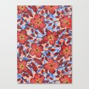 Coral Summer - a hand drawn floral pattern Canvas Print