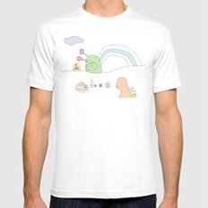 Funland 4 SMALL White Mens Fitted Tee