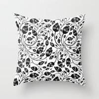 B&w Flora Pattern Throw Pillow