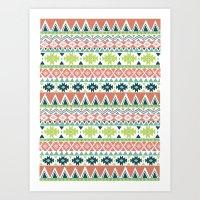 Aztec Stripe Art Print