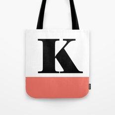 Monogram Letter K-Pantone-Peach Echo Tote Bag