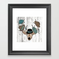 Deer Hat Rack Framed Art Print