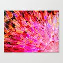 SEA SCALES IN PINK - Hot Pink Feminine Beach Ocean Waves Feathers Abstract Acrylic Painting Fine Art Canvas Print