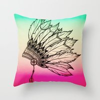 Native American Spiritual Feather Headdress Throw Pillow