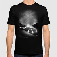 Field Of Lights (B&W) Mens Fitted Tee Black SMALL