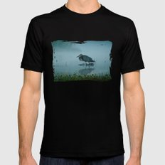 Blue Heron Misty Morning Mens Fitted Tee Black SMALL