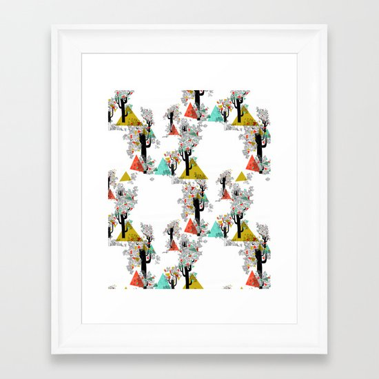 Tree Triangles Framed Art Print