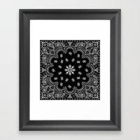 black and white bandana Framed Art Print
