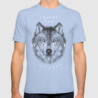 Choose the Wolf You Feed Mens Fitted Tee Tri-Blue SMALL