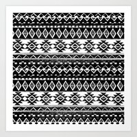 TRIBAL MONOCHROME Art Print