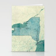 New York Map Blue Vintag… Stationery Cards