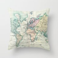 Vintage Map Of The World… Throw Pillow